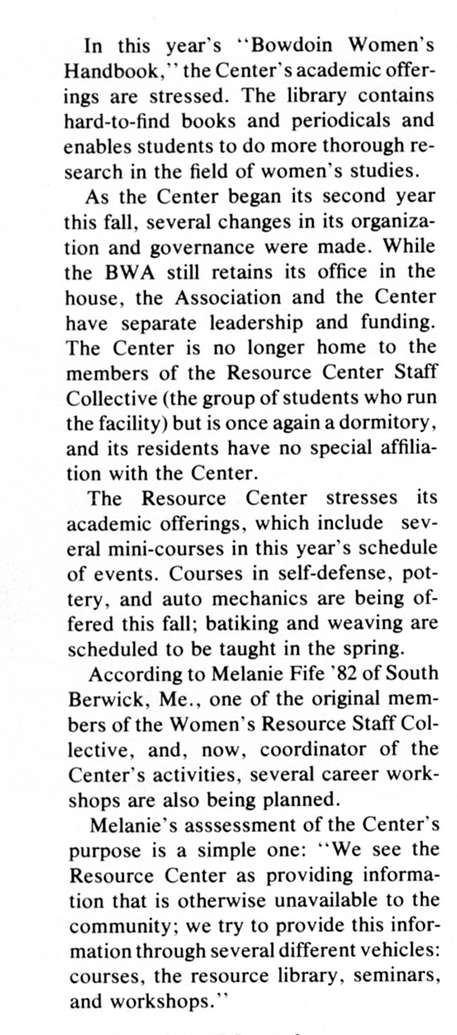 CS64 Page 2 - Bowdoin Alumnus Magazine: A Women's Resource Center