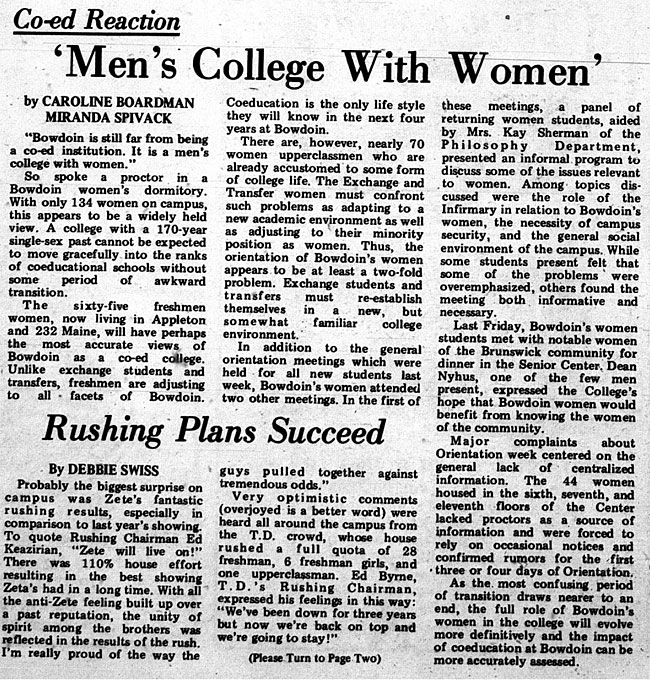 EN23.1 - The Newly Coeducational Bowdoin: A 'Men's College With Women?'