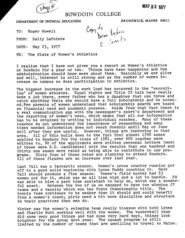 JH58 Page 1 -  Letter from Sally LaPointe to President Howell