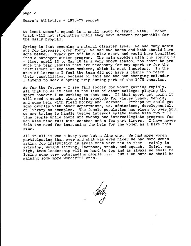 JH58 Page 2 -  Letter from Sally LaPointe to President Howell