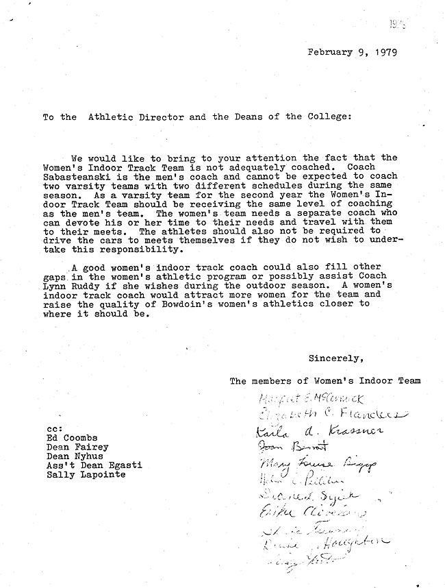 JH59.1 - Letter from the Indoor Track Team