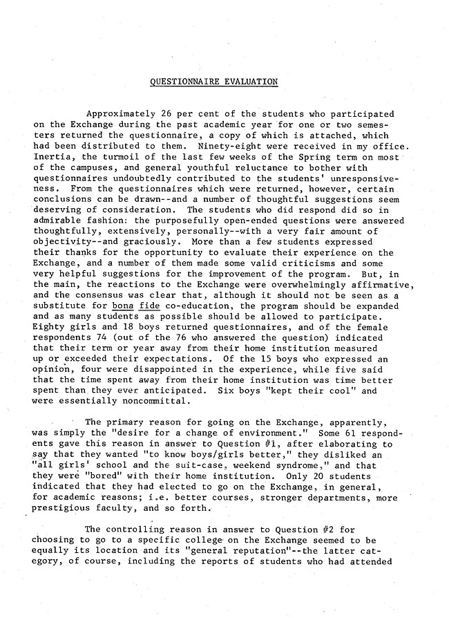 Questionnaire Evaluations Summary of the first year of the Twelve College Exchange(1969-1970) - Sept. 1970 -sb-15.2-page-1