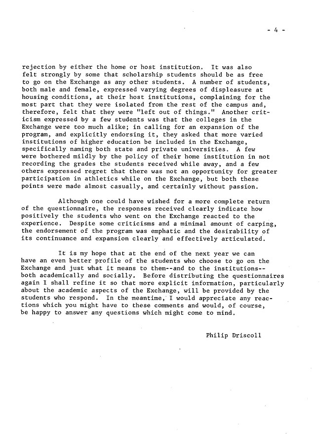 Questionnaire Evaluations Summary of the first year of the Twelve College Exchange(1969-1970) - Sept. 1970 -sb-15.2-page-4
