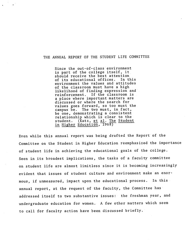 The Annual Report of the Student Life Committee 1968 (excerpt: coordinate colleges) - sb-8-page-1