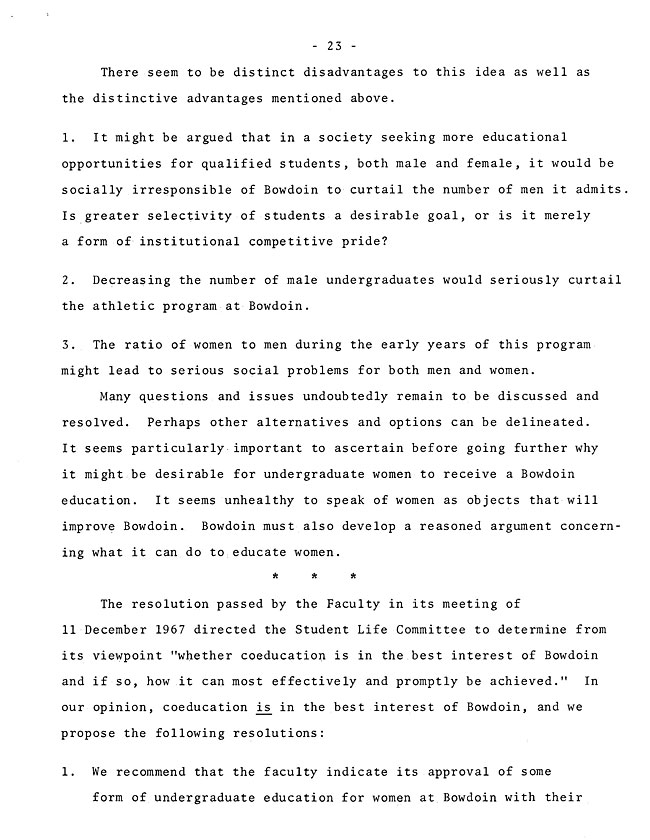 The Annual Report of the Student Life Committee 1968 (excerpt: coordinate colleges) - sb-8-page-11