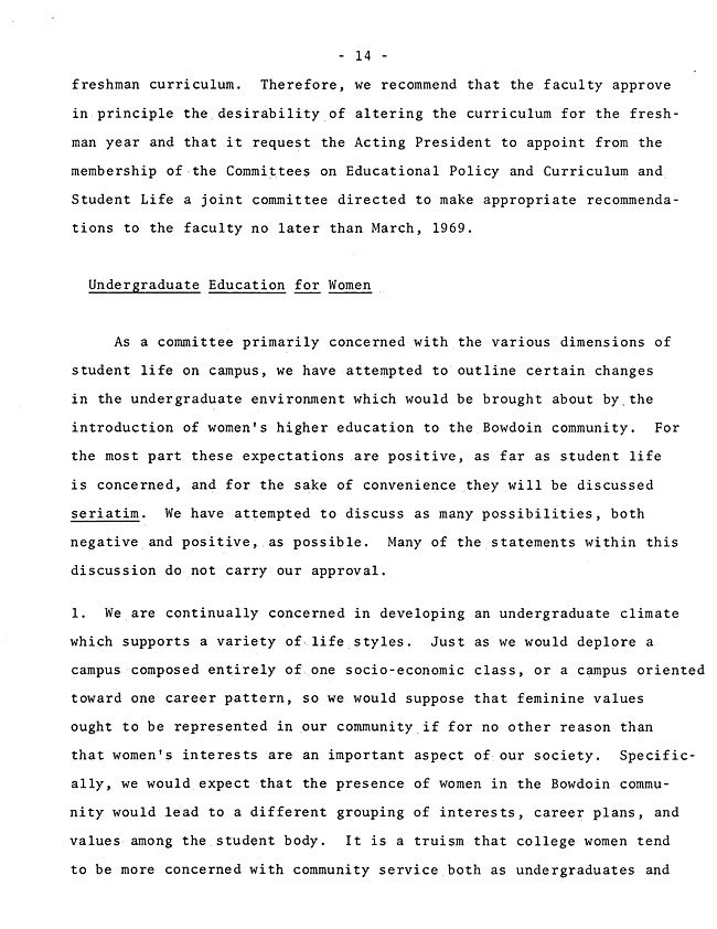 The Annual Report of the Student Life Committee 1968 (excerpt: coordinate colleges) - sb-8-page-2