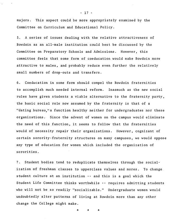 The Annual Report of the Student Life Committee 1968 (excerpt: coordinate colleges) - sb-8-page-5