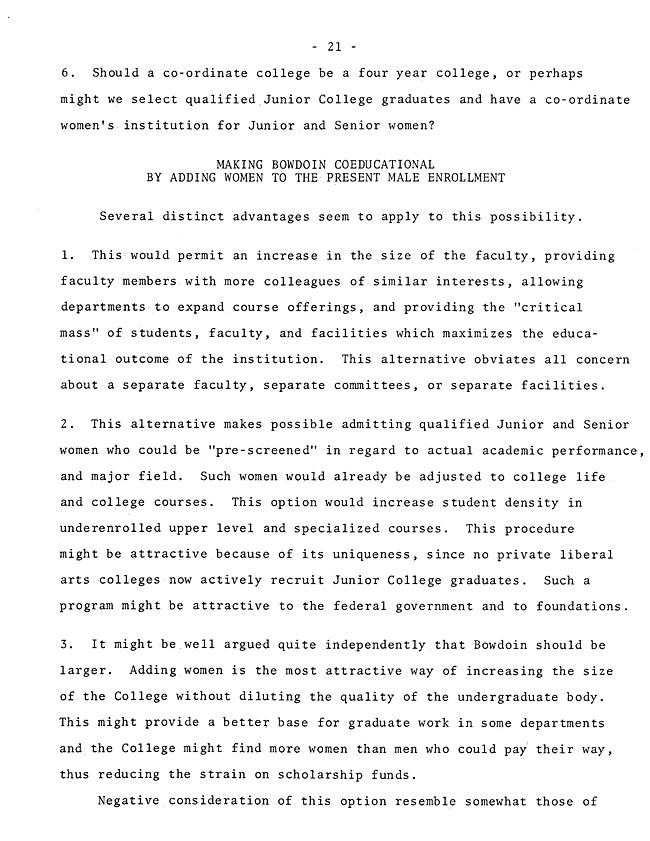 The Annual Report of the Student Life Committee 1968 (excerpt: coordinate colleges) - sb-8-page-9
