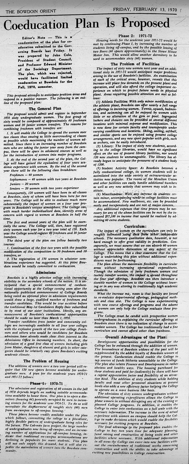 """GB12 - """"Coeducation Plan is Proposed"""" The Bowdoin Orient February 13, 1970"""