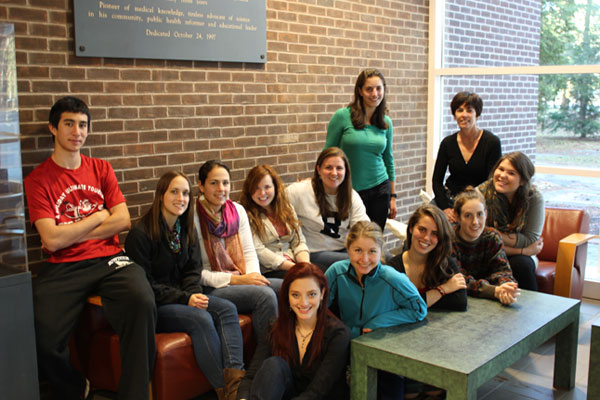 The historians of GWS 280 Front row left to right:  Angelica Guerrero, Skyler Walley, Coral Sandler, Stephanie Bond, Anna Wright Back row left to right: Samuel Shapiro, Samantha Copland, Jillyan Henrikson, Allison Kuriloff, Genevieve Barlow, Emma Nathaniel, Professor Jennifer Scanlon