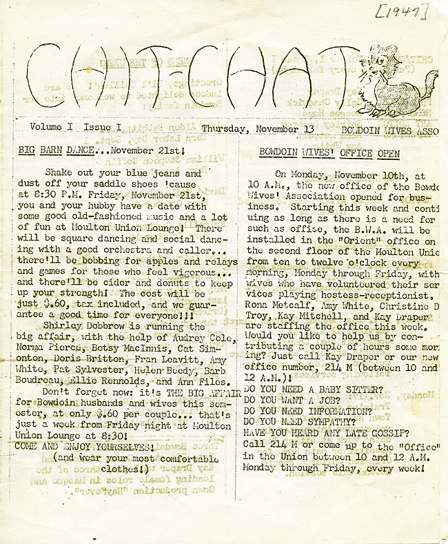 """Bowdoin Wives Association """"Chit-Chat""""  SC 6 - page 1"""