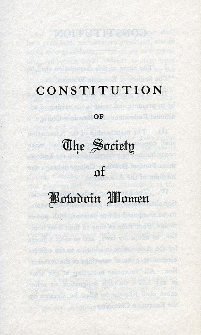 Society of Bowdoin Women Constitution - sc4-1