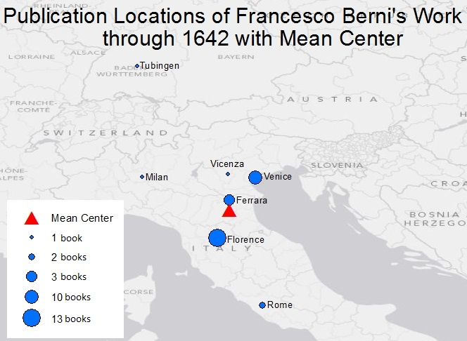 Visualization of the geographic center of locations in which Francesco Berni's works were published during Galileo's lifetime. Visualization by Hannah Rafkin and Crystal Hall using ArcGIS.