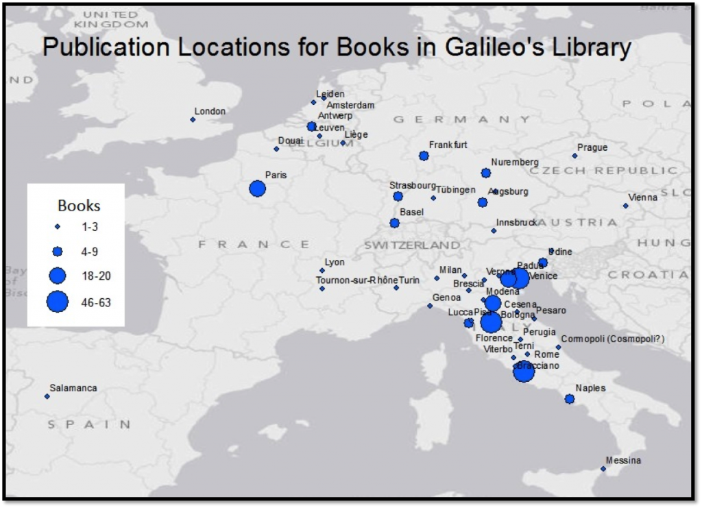 Map of the places in which editions known to have been in Galileo's library were published. Visualization by Hannah Rafkin and Crystal Hall using ArcGIS.