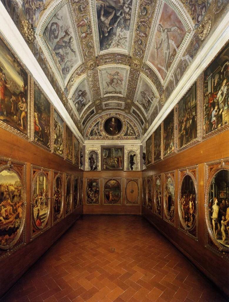 A 20th-century partial reconstruction of Francesco I de' Medici's study, or studiolo, a space for contemplation, study, and curiosity. Designed by Giorgio Vasari.