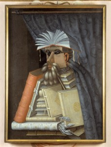 """Giuseppe Arcimboldo's painting known as """"The Librarian"""" (1566). Image by Skokloster Castle, via Wikimedia Commons."""