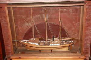 Model of Robert Peary's expedition vessel S.S. Roosevelt.